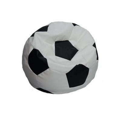 Gyermek babzsákfotel, textilbőr, focilabda, fekete-fehér - FOOT